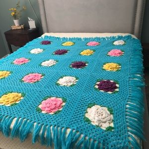 Shabby chic crocheted Afghan blanket with roses